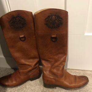 Frye Melissa Logo Leather Riding Boots 76435